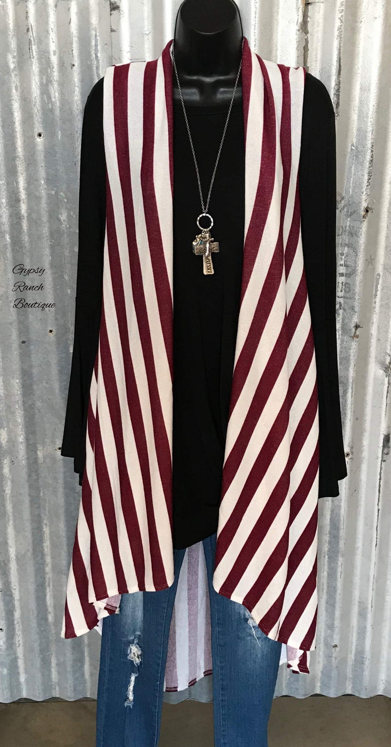 Presley Burgundy Stripe Vest -Also in Plus Size