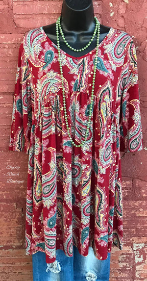 Prime Time Paisley Tunic Dress  - Also in Plus Size