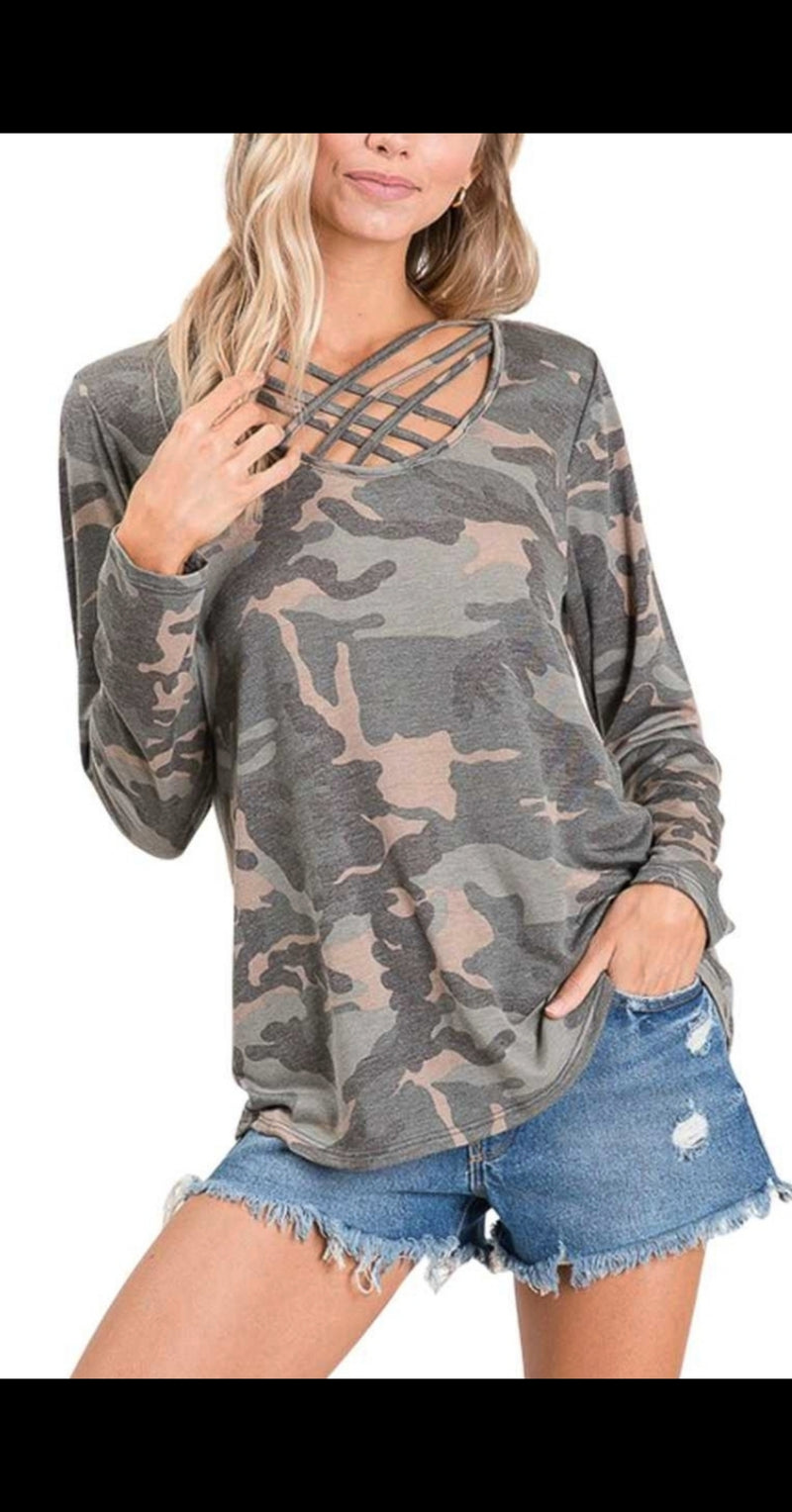 Caitlyn Camo Criss Cross Top