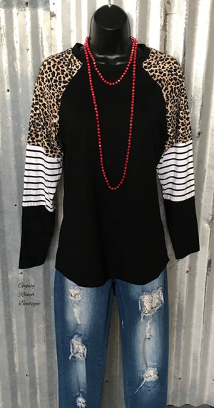 Braelyn Black Stripe & Leopard Top - Also in Plus Size