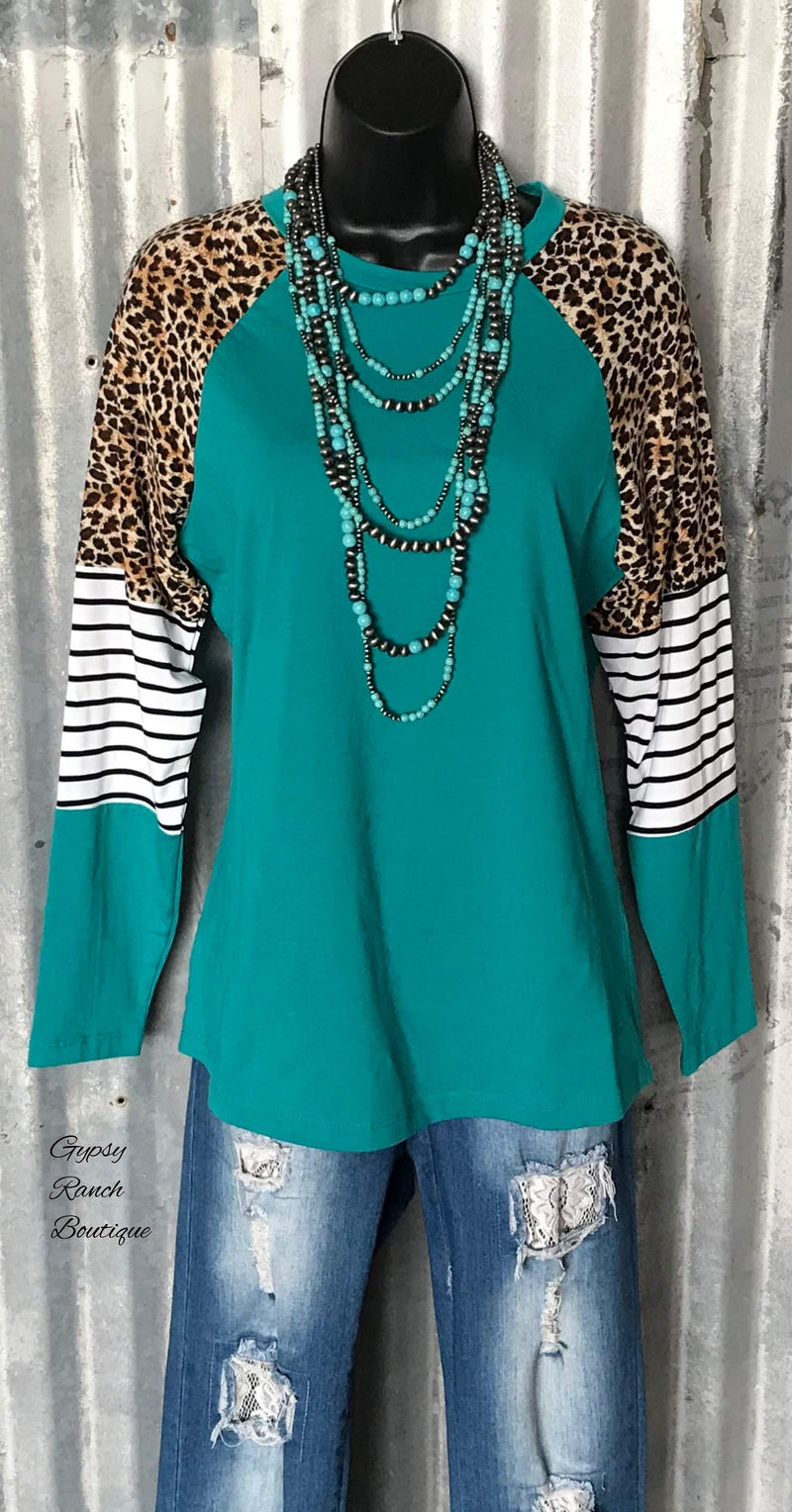 Brooklyn's Pride Turquoise Stripe & Leopard Top - Also in Plus Size
