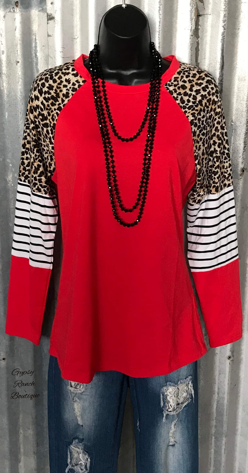 Kashlee Red Stripe & Leopard Top - Also in Plus Size