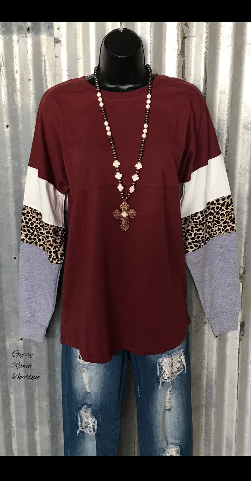 Yukon Maroon Leopard Top - Also in Plus Size