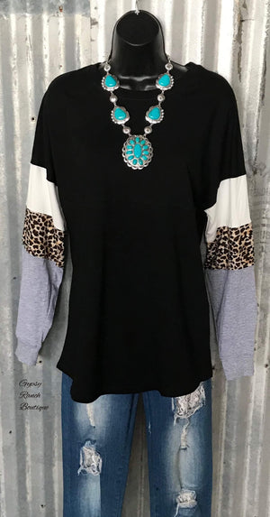 Pine Ridge Black Leopard Top - Also in Plus Size