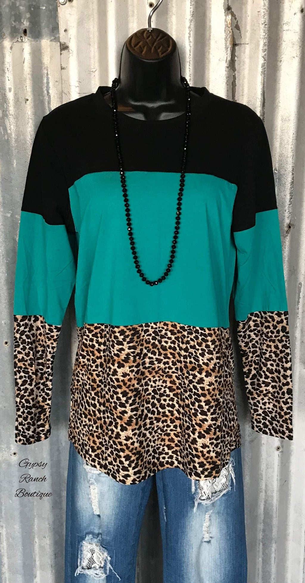 Tiana Turquoise & Leopard Top - Also in Plus Size