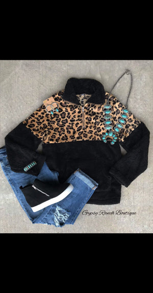 Revolution Plush Leopard Black Pullover