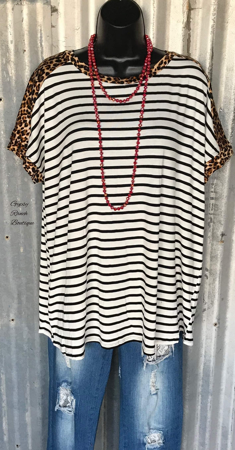 Ramsey Stripe Leopard Top - Also in Plus Size