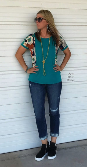 Mesa Vintage Floral Teal Top - Also in Plus Size