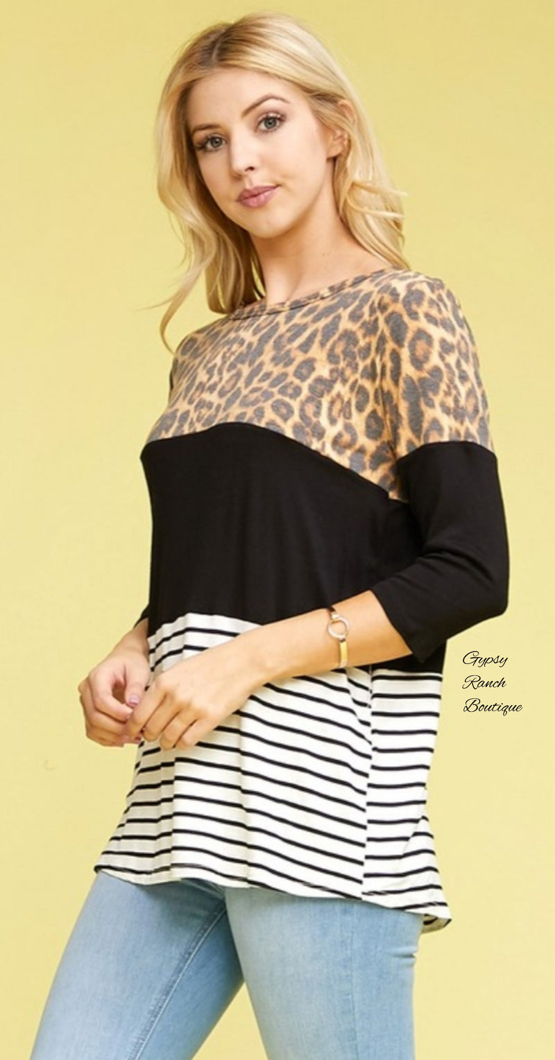 Jordan Leopard Stripe Top