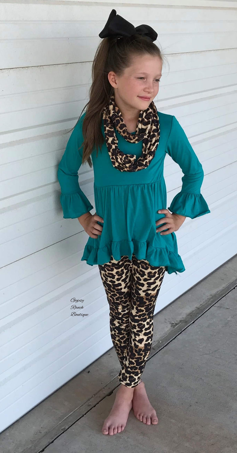 Stormy Turquoise Leopard 3 piece set