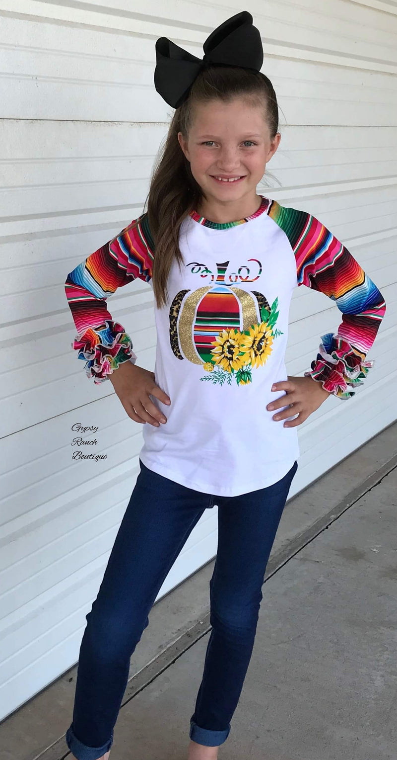 Serape Pumpkin & Glitter Top - Kids