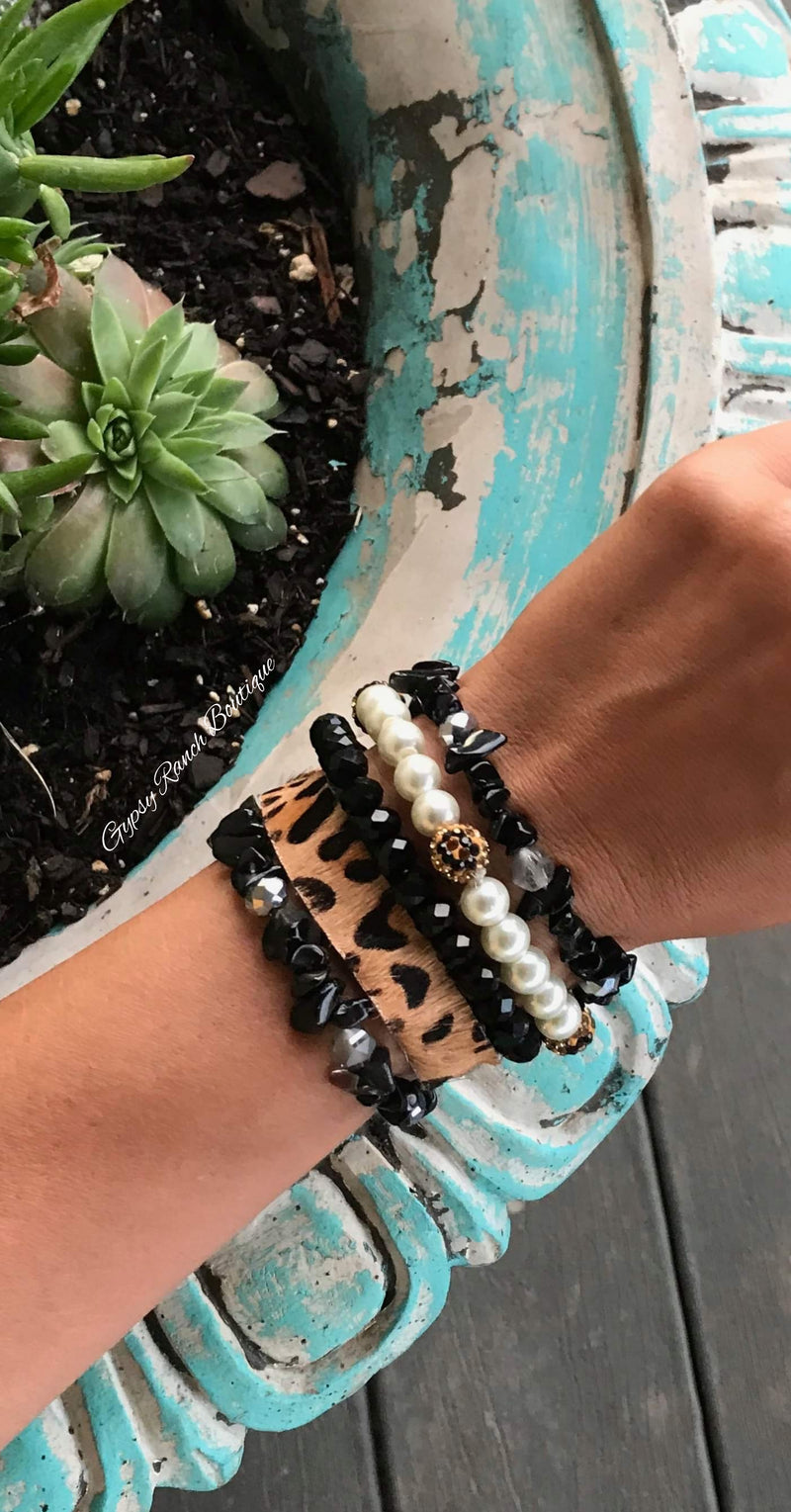 Miranda Black Leopard Collection Bracelet