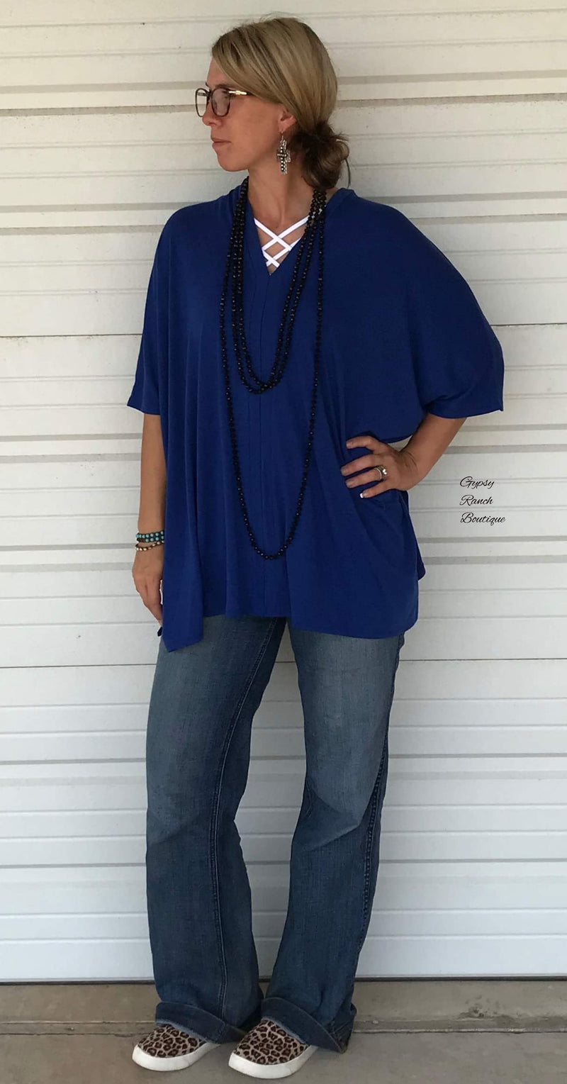Dodge City Royal Blue Poncho Top