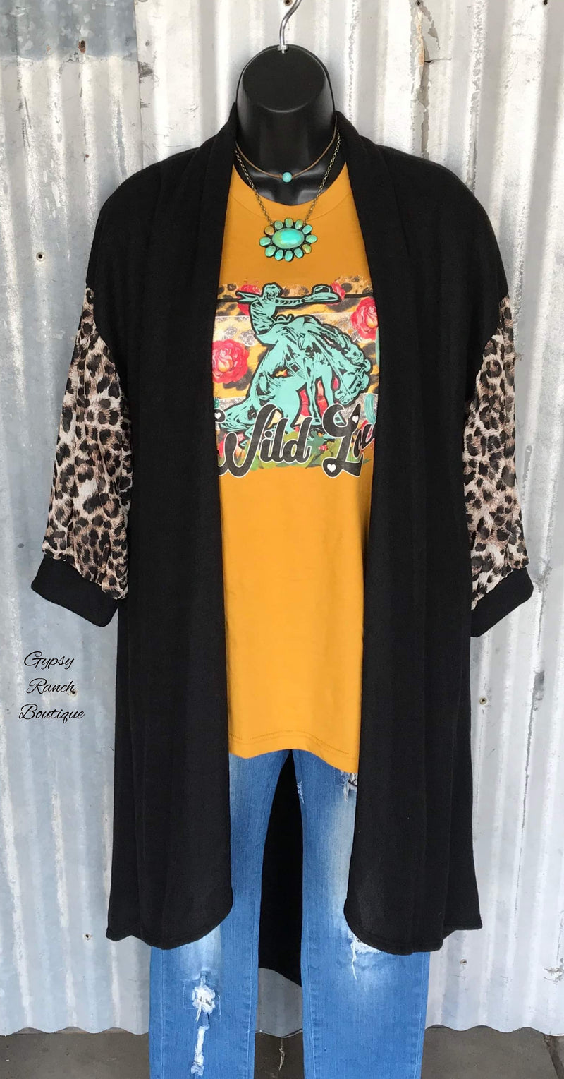 Cooper Black Leopard Cardigan  - Also in Plus Size
