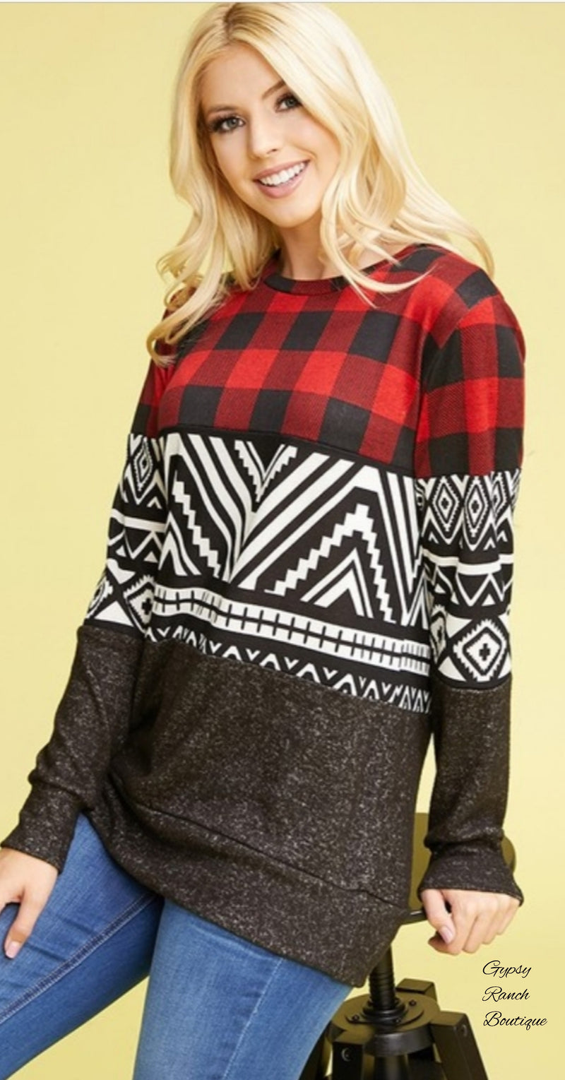 Harper Tribal Buffalo Plaid Top