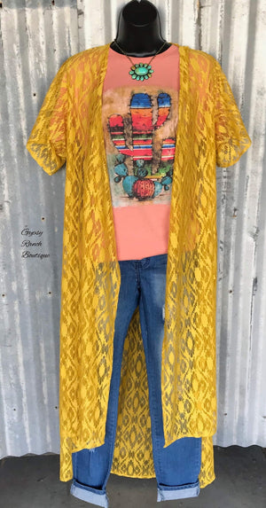 South Fork Aztec Mustard Lace Kimono Cardigan - Also in Plus Size