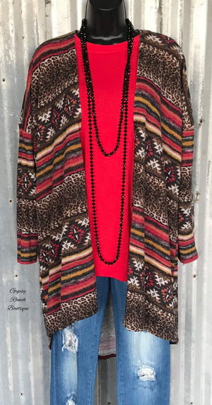 Red River Leopard Tribal Cardigan - Also in Plus Size
