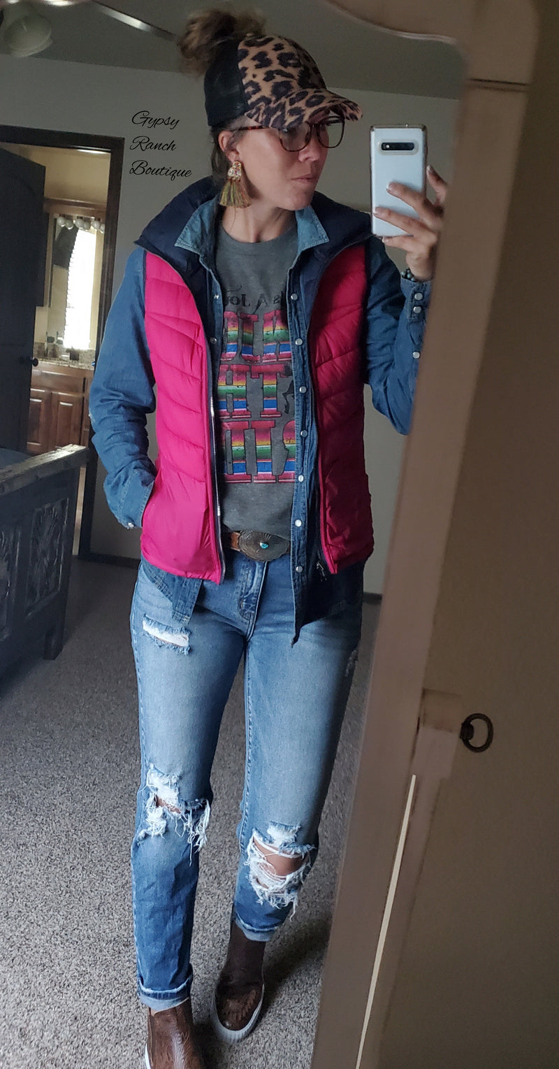 Hallie Hot Pink & Navy Reversible Vest - Also in Plus Size
