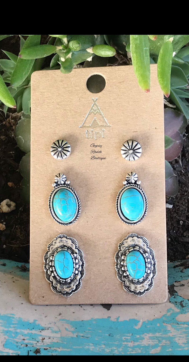 Apache Turquoise Stud Set of 3 Earrings