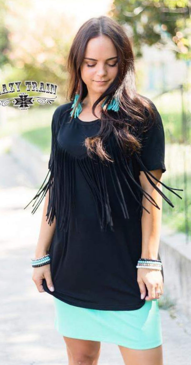 Fringe in Low Places Black Top - Also in Plus Size