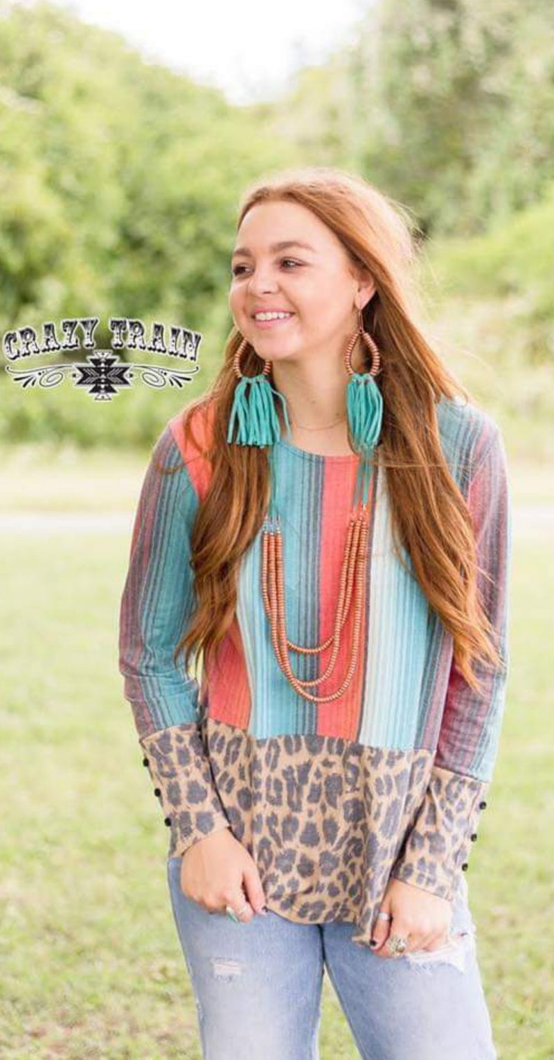 Helotes Serape Leopard Top - Also in Plus Size