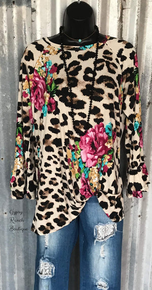 Jada Leopard Floral Knot Top - Also in Plus Size