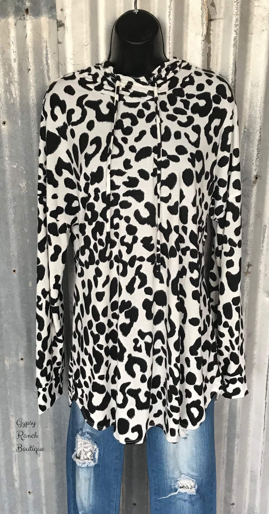 Credit My Party Leopard Lightweight Hoodie Top-Also in Plus Size