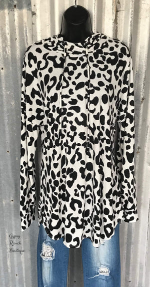 Paramount Leopard Lightweight Hoodie Top-Also in Plus Size