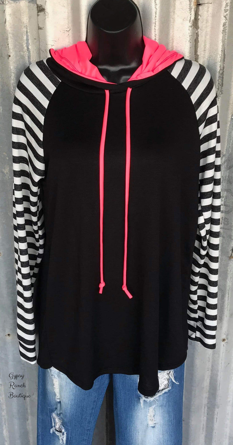 She's A Dream Stripe Hot Pink Hoodie Top