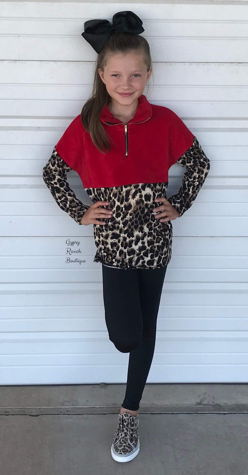 Montana Red Kids Leopard Pullover