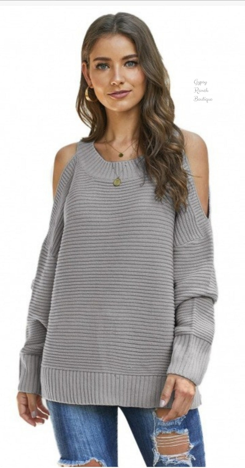 Trac Grey Cold Shoulder Sweater