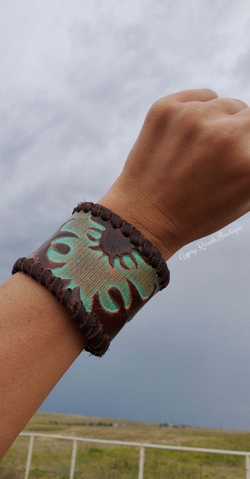 Rodeo Drive Turquoise Leather Cuff Bracelet