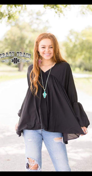 Folsom Flare Black Top - Also in Plus Size