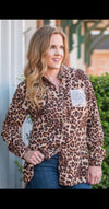 We'll Be There Leopard Button Up With Rose Gold Sequin Top-Also in Plus Size