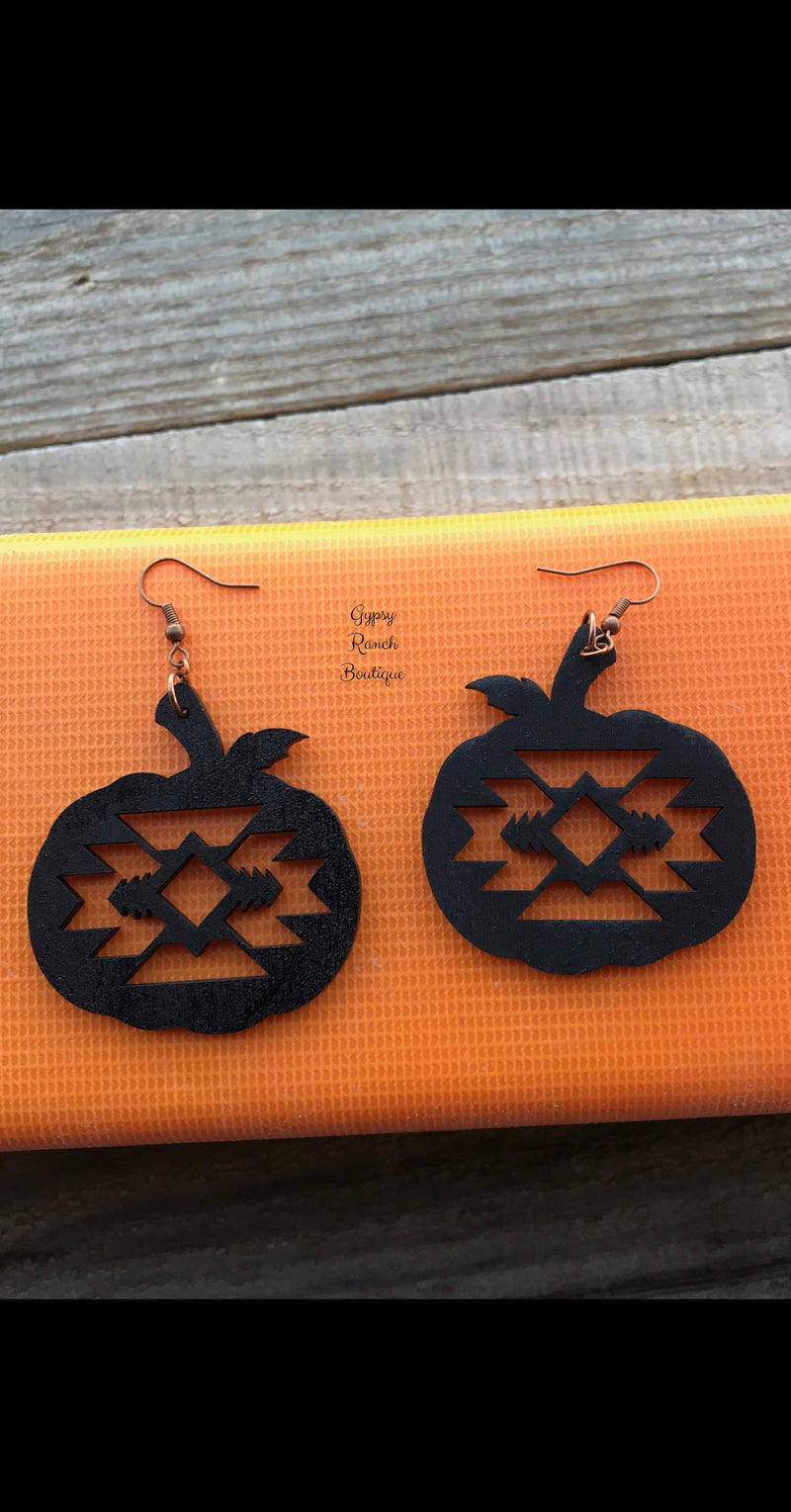 Black Spice Pumpkin Wood Earrings