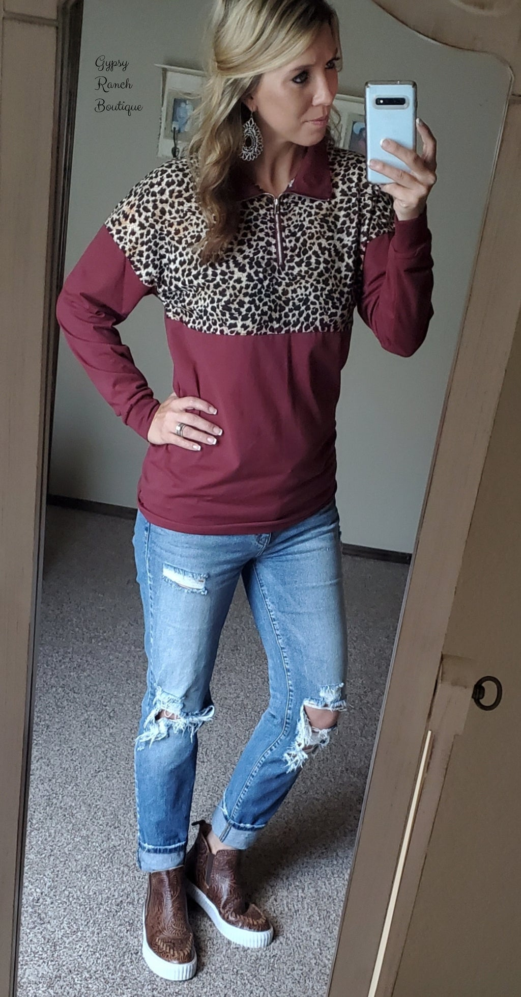 Athens Maroon Leopard Pullover Top - Also in Plus Size