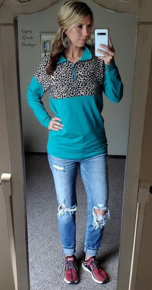 Anniston Turquoise Leopard Pullover Top - Also in Plus Size