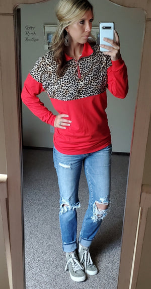Olympia Red Leopard Pullover Top - Also in Plus Size