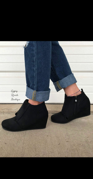Kids - Chaynee Black Wedge Bootie