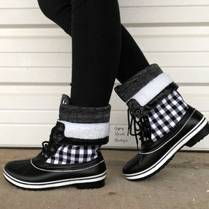 Dylan Black & White Checker Snow/Rain Boots