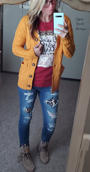 Jordan Mustard Grandpa Sweater Cardigan - Also in Plus Size