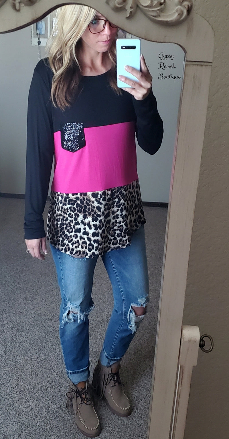Avery Pink & Black Leopard Top - Also in Plus Size