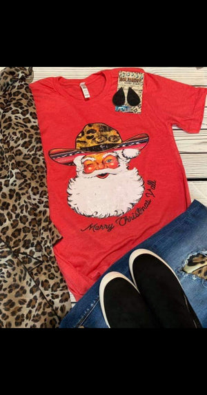 Cowboy Santa Leopard & Serape Top - Also in Plus Size
