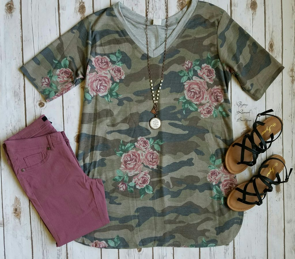 Featured Floral & Camo Top - Also in Plus Size