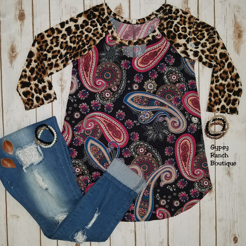 Pacific Paisley & Leopard Top - Also in Plus Size