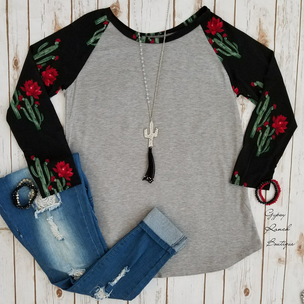 Southern Charm Cactus Raglan Top - Also in Plus Size