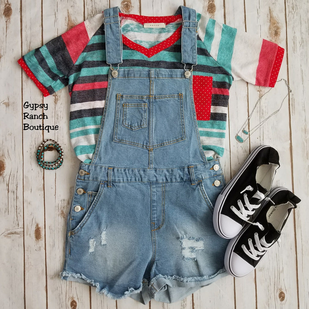Marley Distressed Overall Shorts