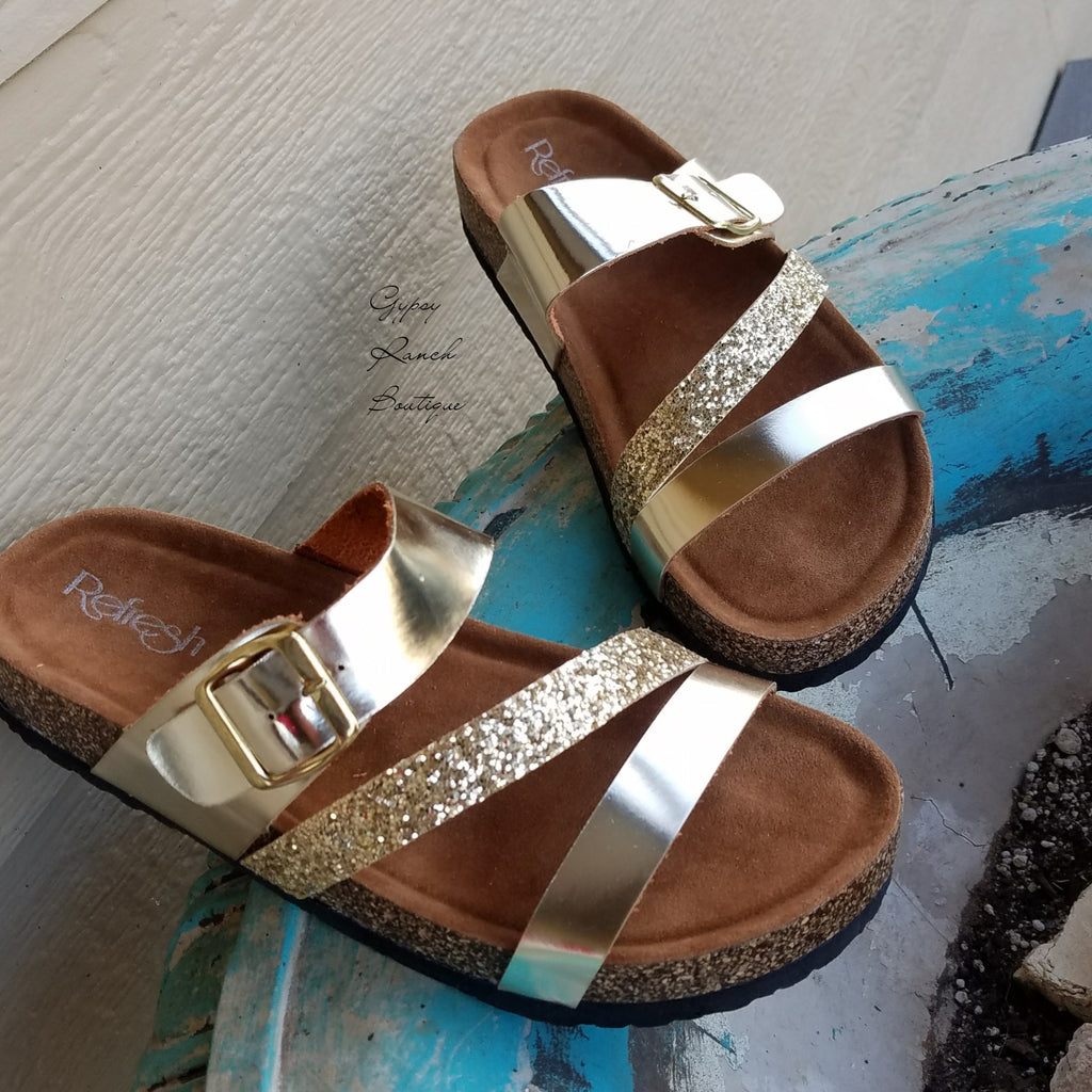 Pensacola Beach Gold Glitter Sandals