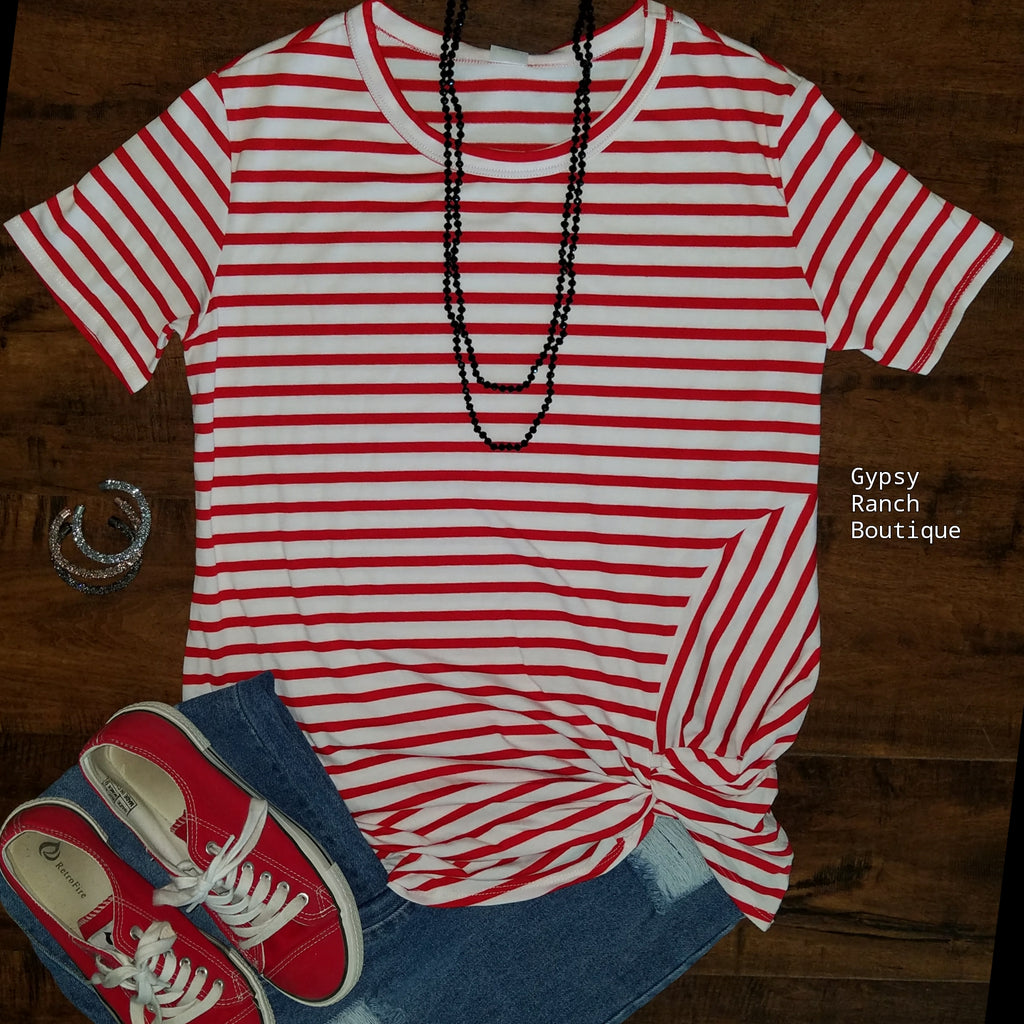 66e832f88 Out of this World Red Stripe Knotted Top - Also in Plus Size – Gypsy ...