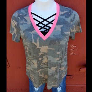 Colorado Camo Neon Pink Top - Also in Plus Size